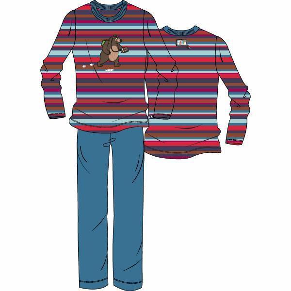 Woody Beer Unisex Pyjama Lange Mouw - red-blue striped