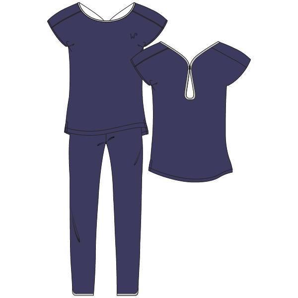 Woody Dames Pyjama - blue ribbon