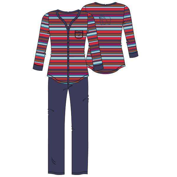 Woody Beer Dames Pyjama Doorknoop Lange Mouw - red-blue striped